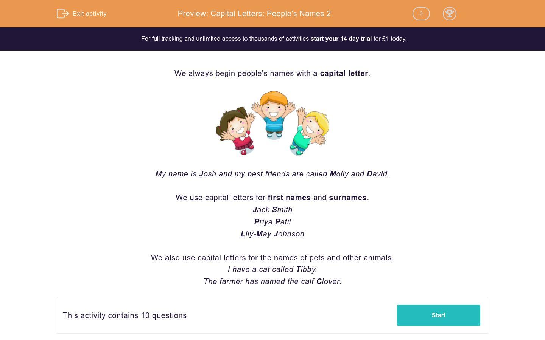 'Capital Letters: People's Names 2' worksheet