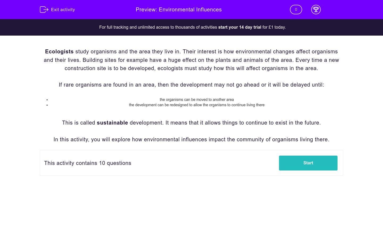 'Environmental Influences' worksheet