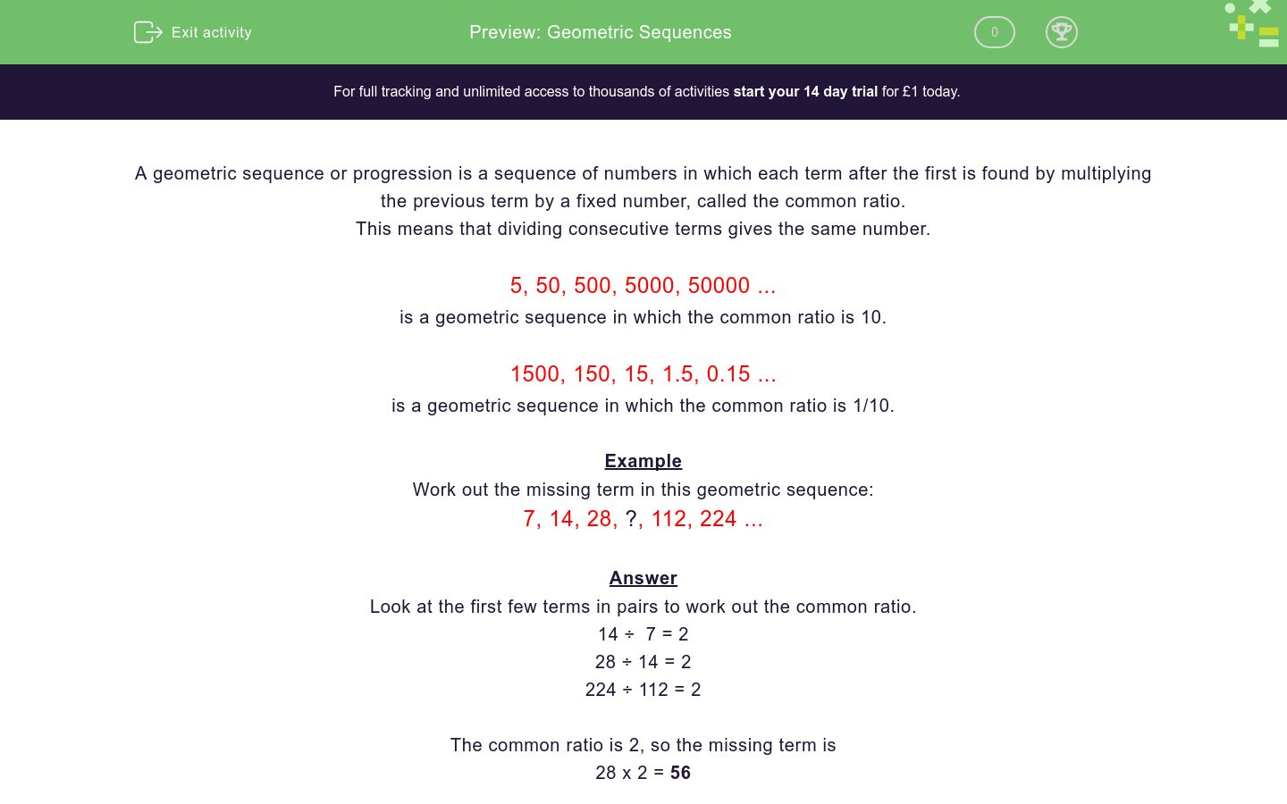 Geometric Sequences Worksheet - EdPlace