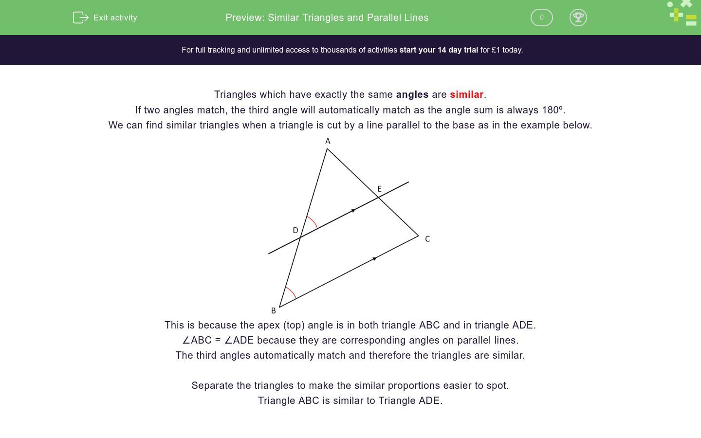Worksheets Similar Triangle Worksheets similar triangles and parallel lines worksheet edplace worksheet