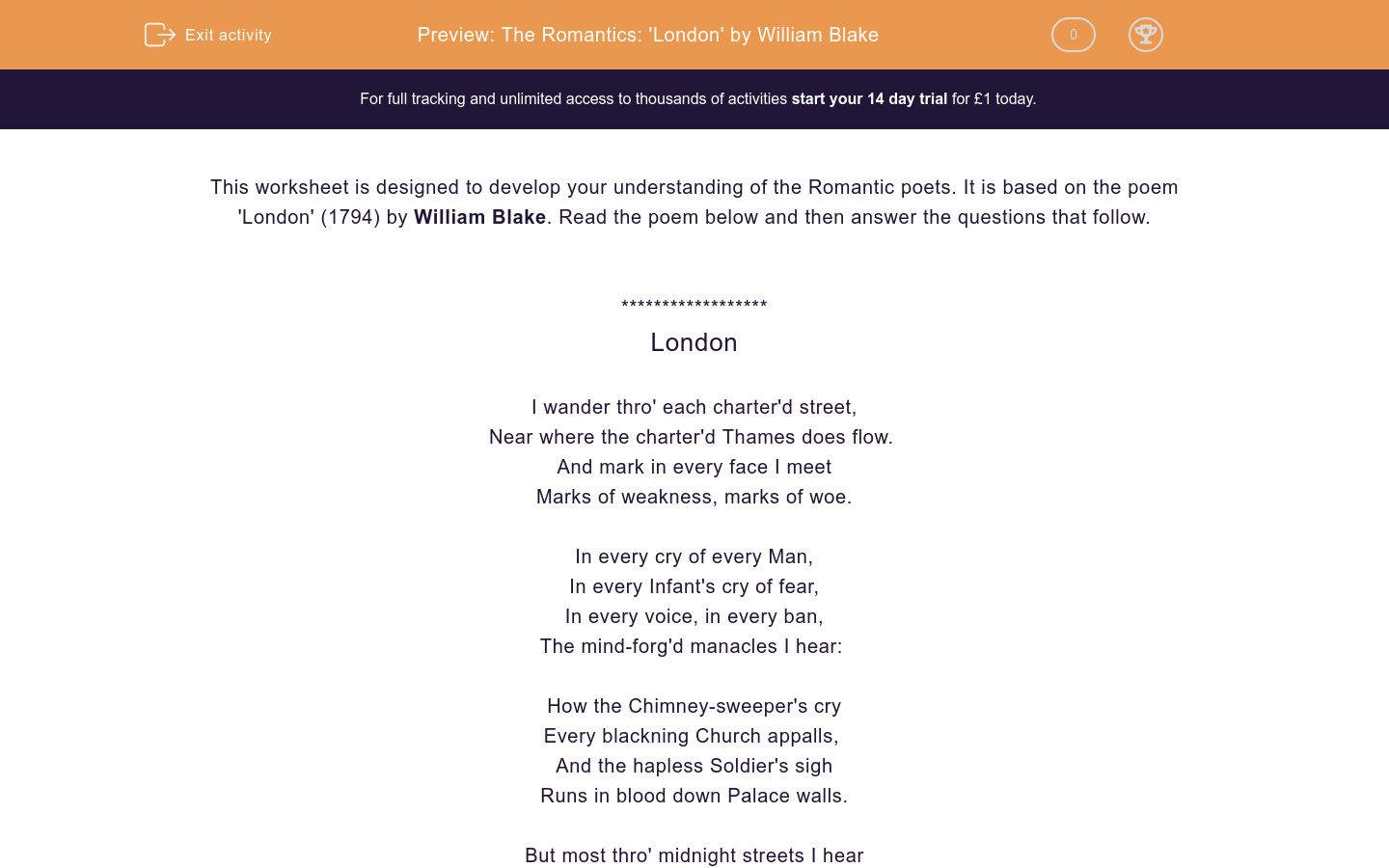 'The Romantics: 'London' by William Blake' worksheet