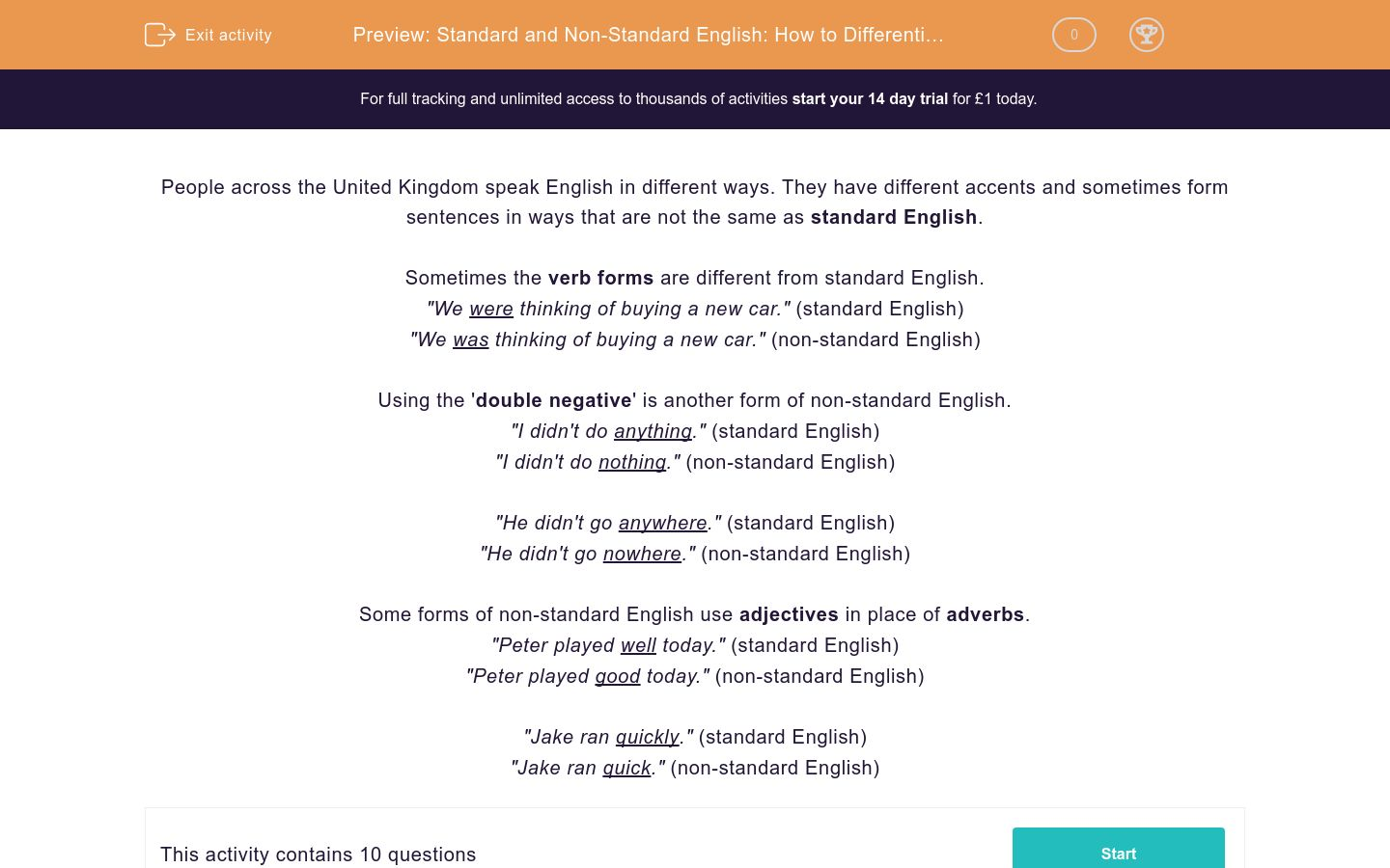 'Standard and Non-Standard English: How to Differentiate 2' worksheet