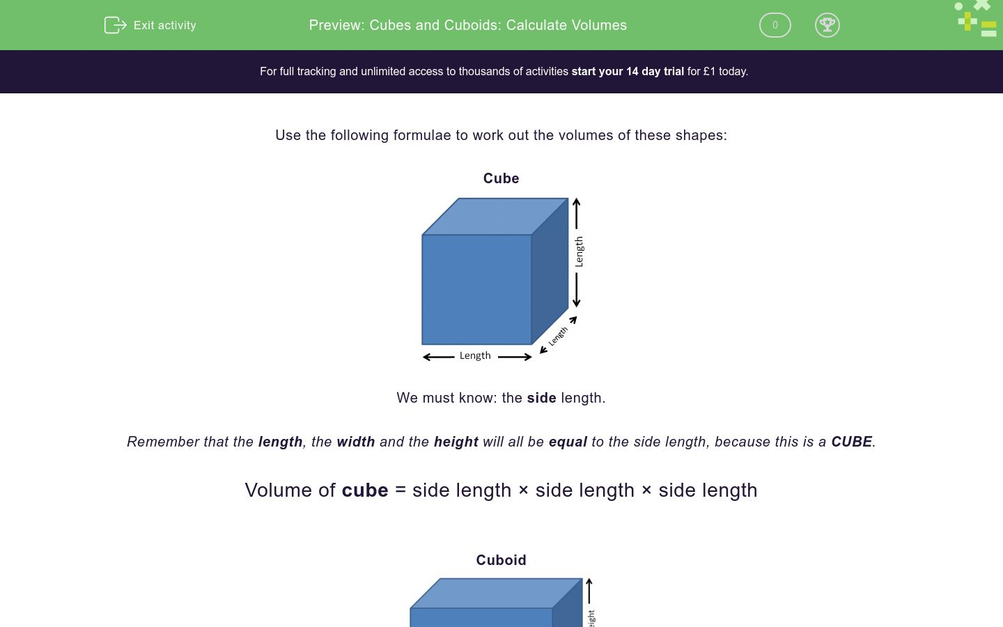 Cubes And Cuboids Calculate Volumes Worksheet Edplace