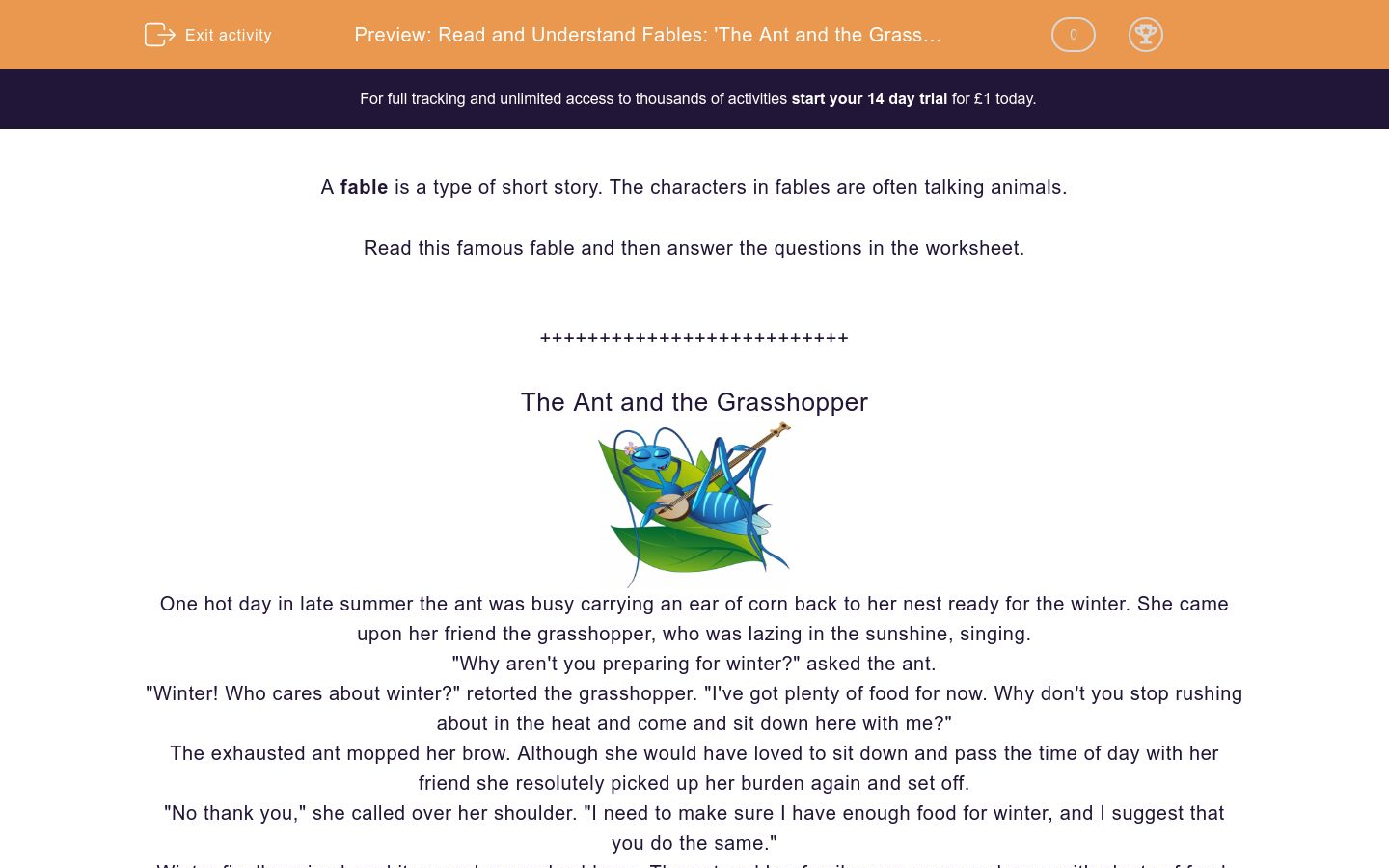 'Read and Understand Fables: 'The Ant and the Grasshopper'' worksheet
