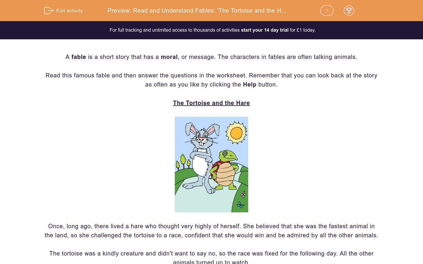 'Read and Understand Fables: 'The Tortoise and the Hare'' worksheet