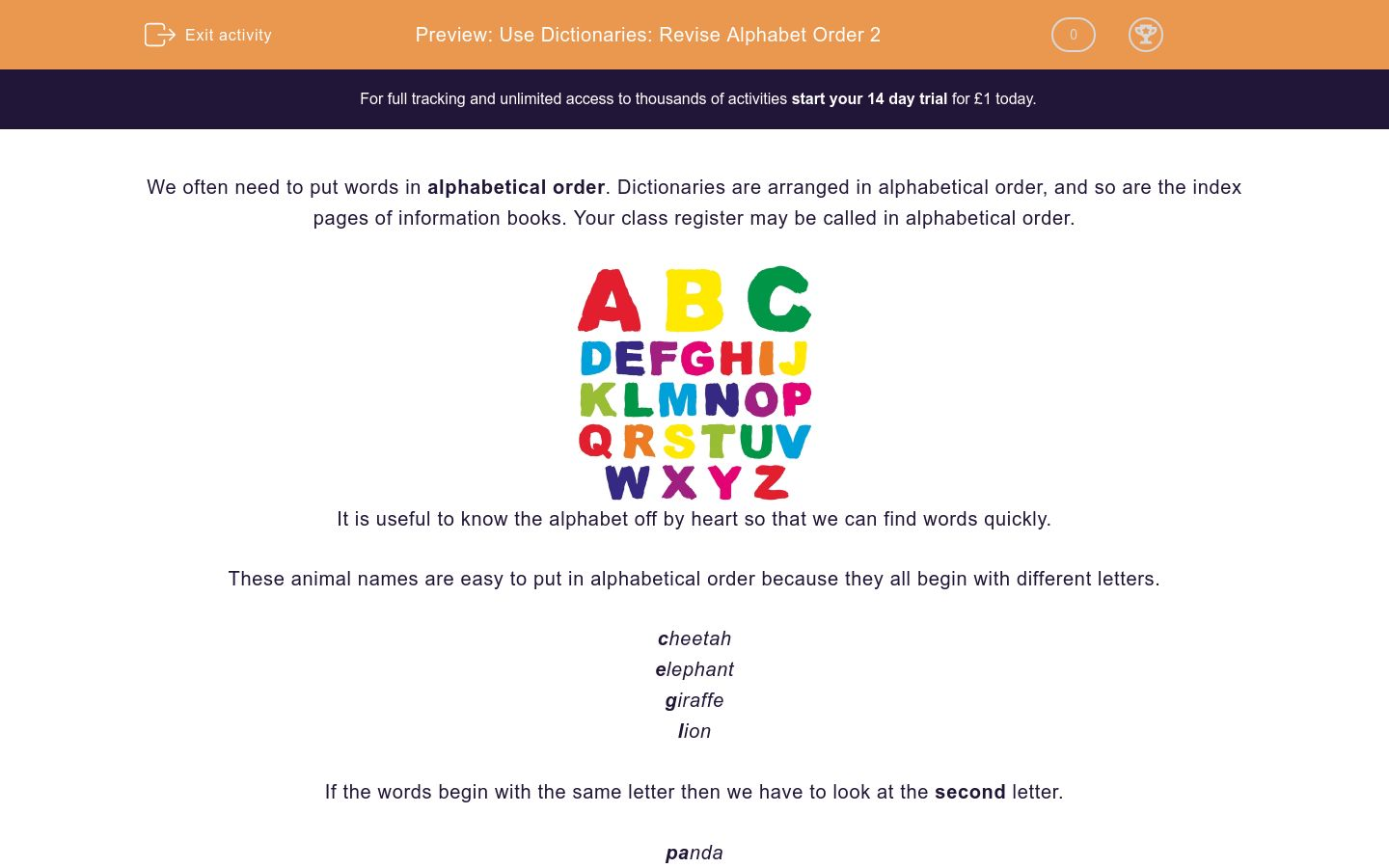 'Use Dictionaries: Revise Alphabet Order 2' worksheet