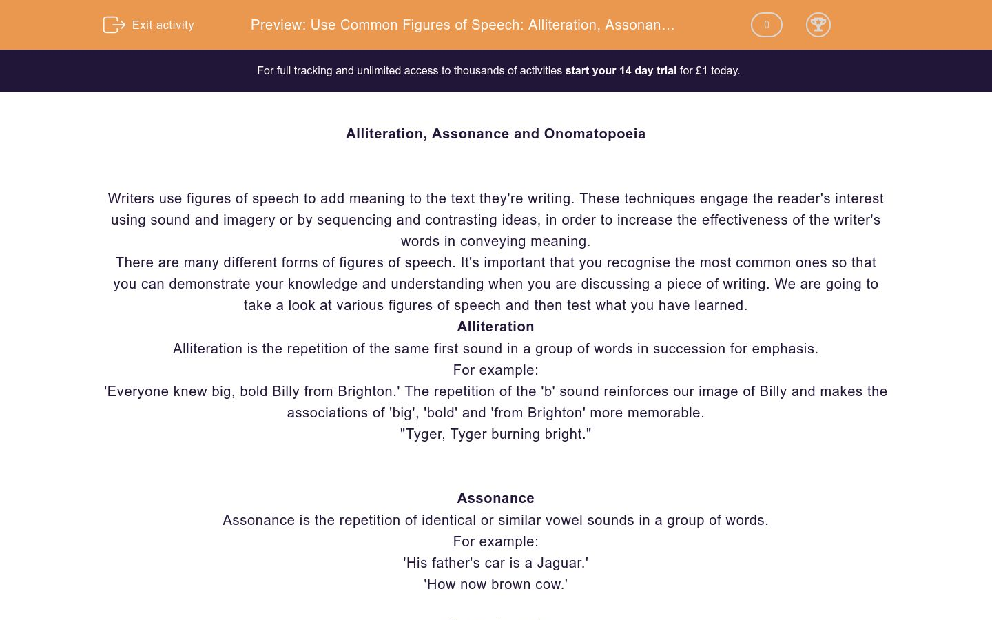 'Common Figures of Speech 1: Alliteration, Assonance and Onomatopoeia' worksheet