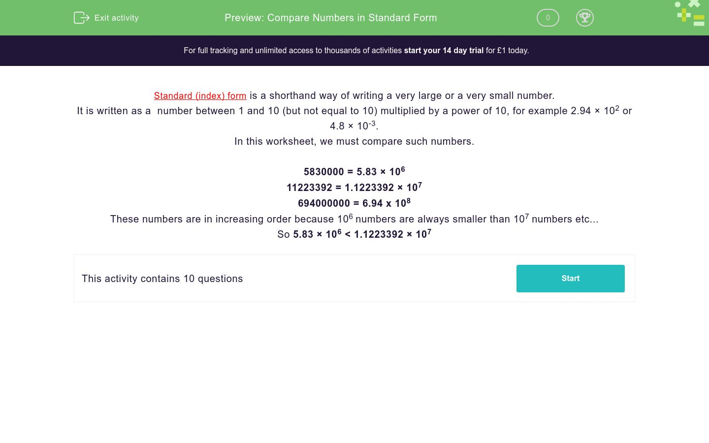 'Compare Numbers in Standard Form' worksheet