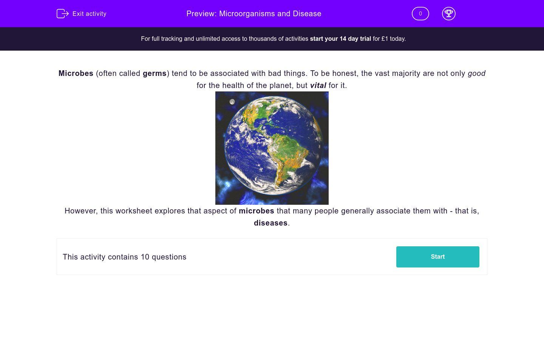 Microorganisms and Disease Worksheet - EdPlace