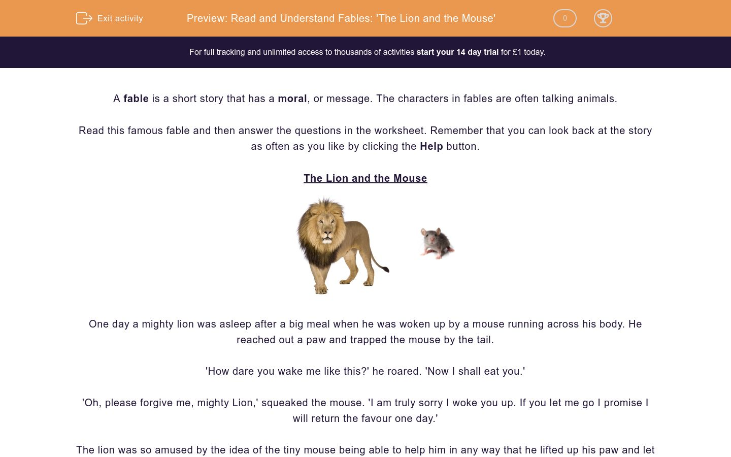 'Read and Understand Fables: 'The Lion and the Mouse'' worksheet