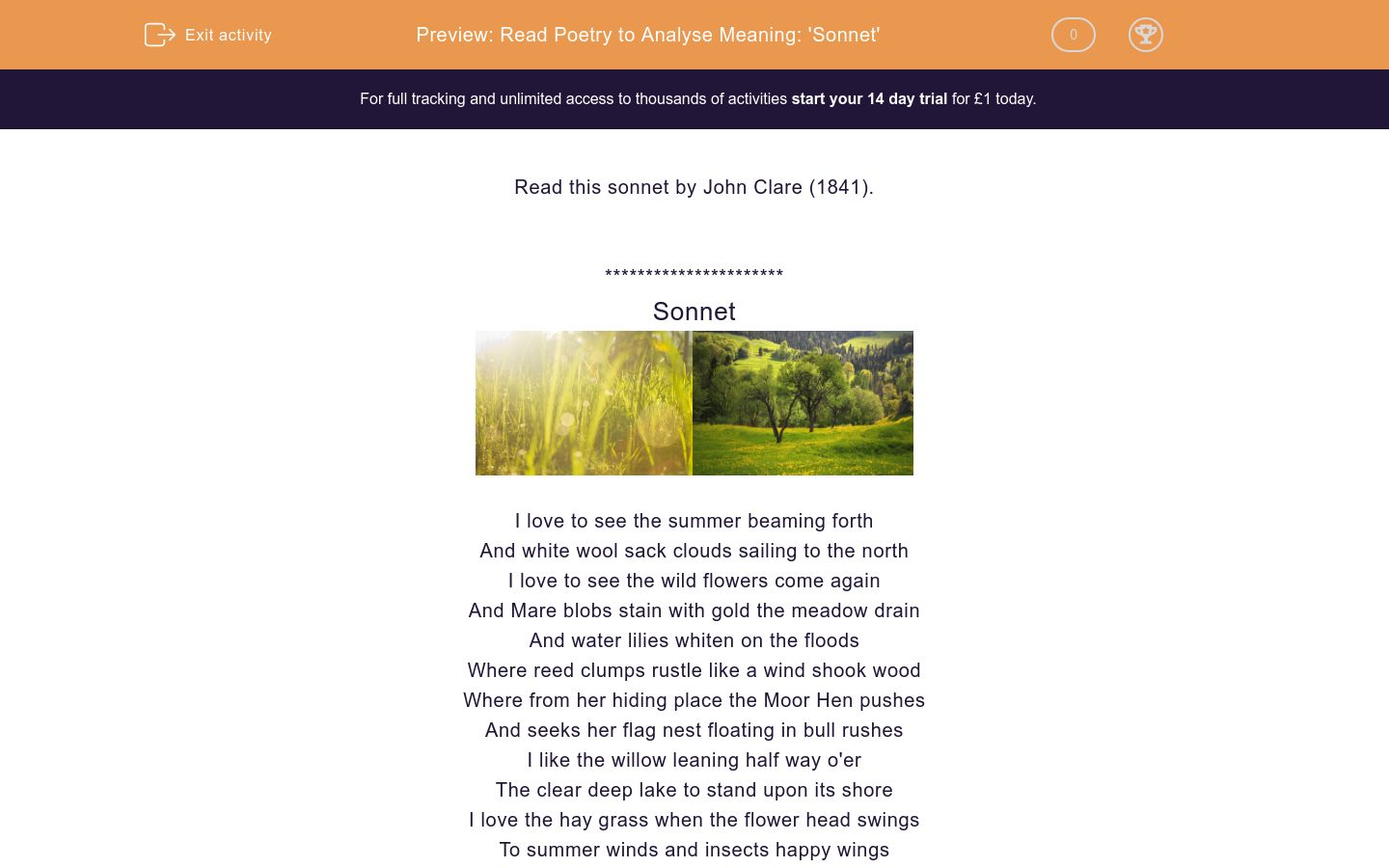 'Read Poetry to Analyse Meaning: 'Sonnet'' worksheet