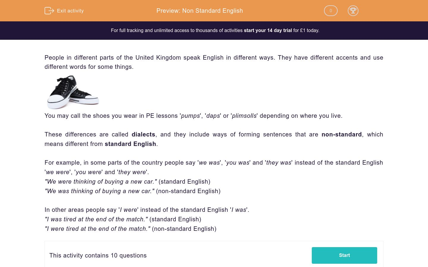 'Standard and Non-Standard English: How to Differentiate 1' worksheet
