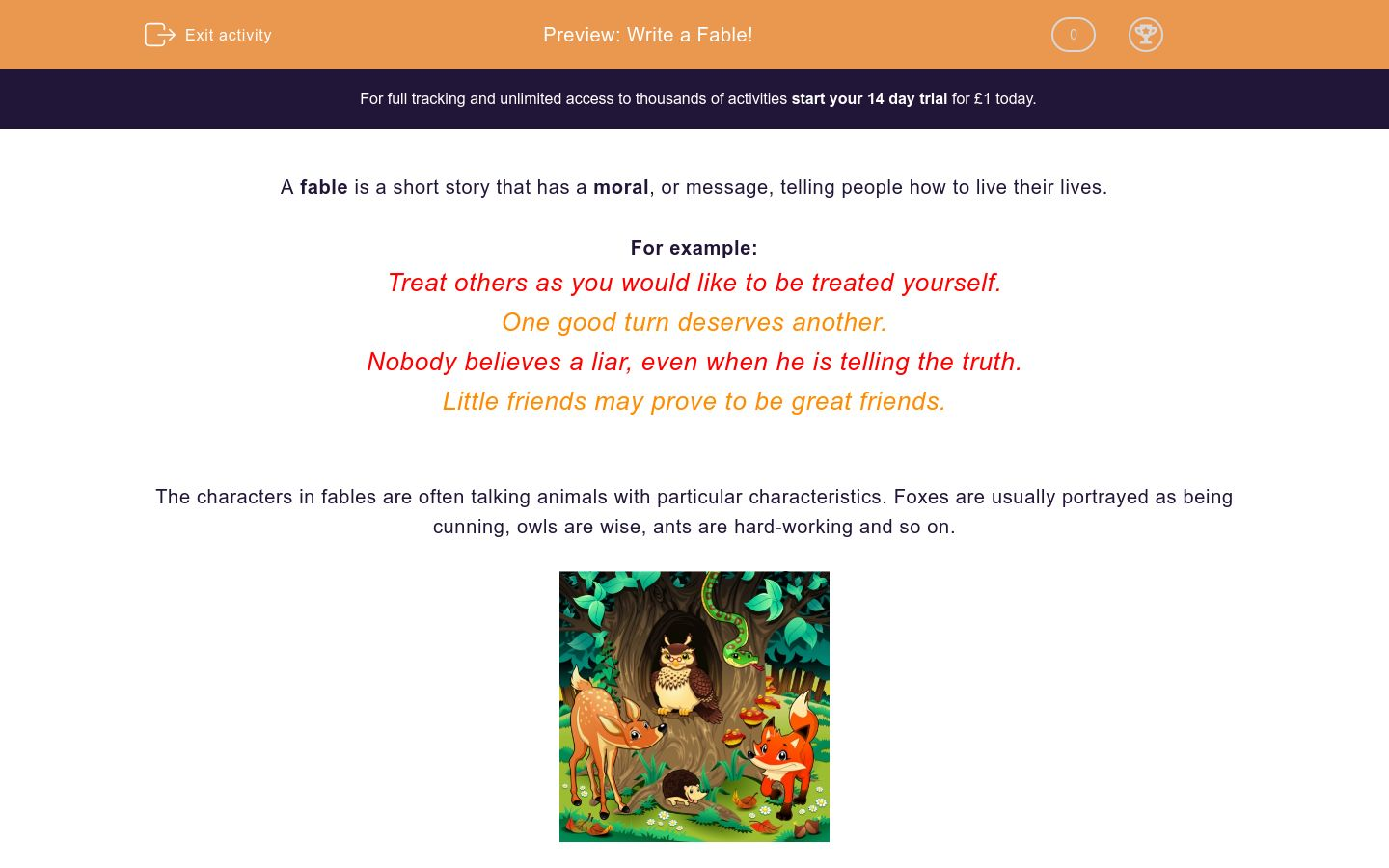 'Write a Fable!' worksheet