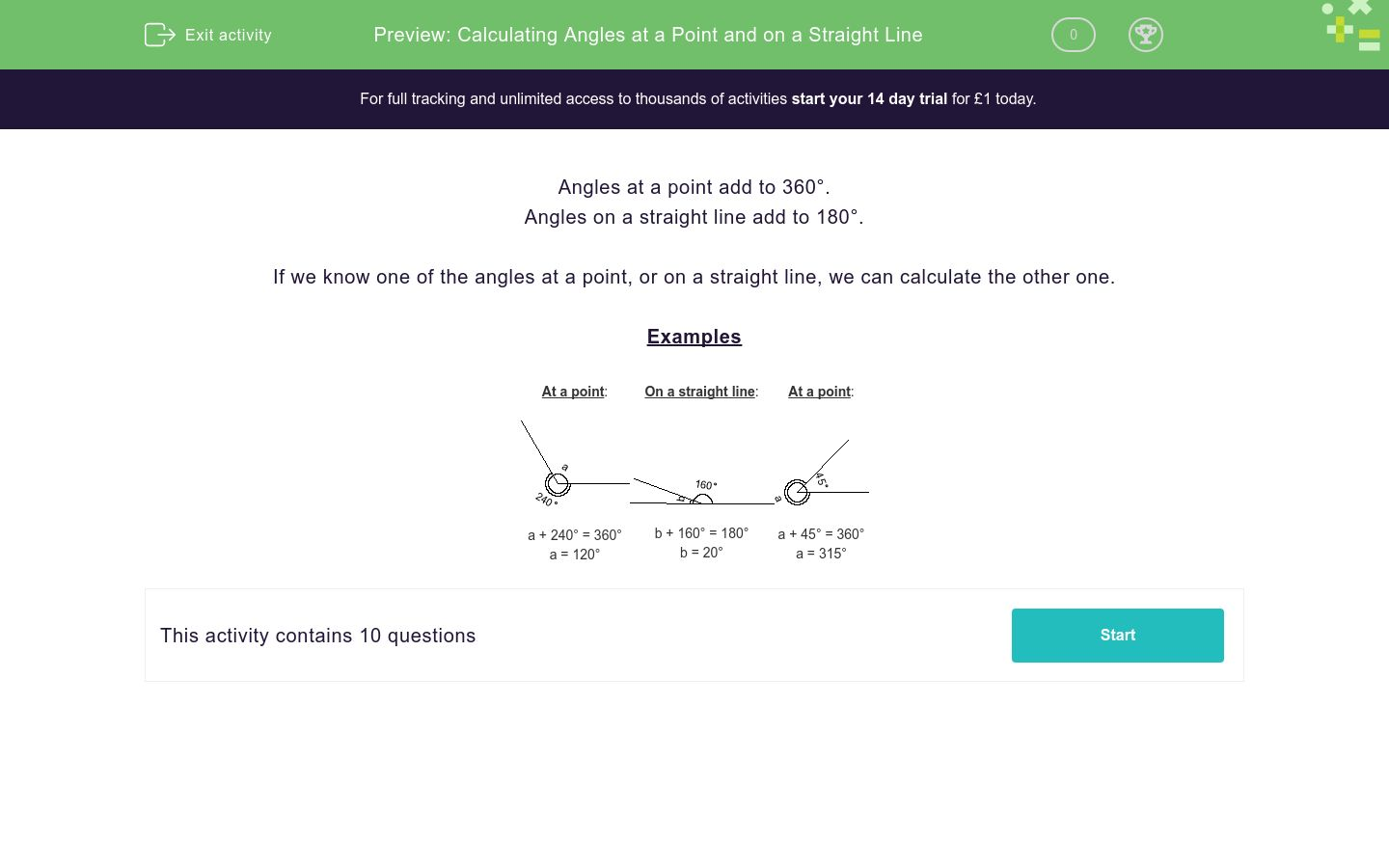 'Calculating Angles at a Point and on a Straight Line' worksheet
