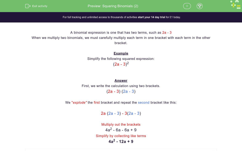 Squaring Binomials 2 Worksheet Edplace
