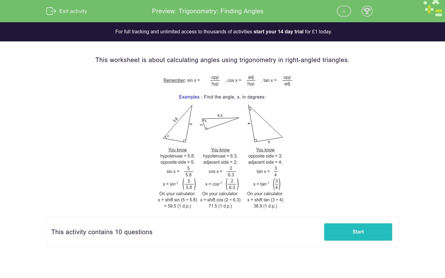 'Trigonometry: Finding Angles' worksheet