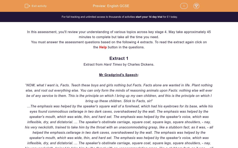 'English GCSE ' worksheet