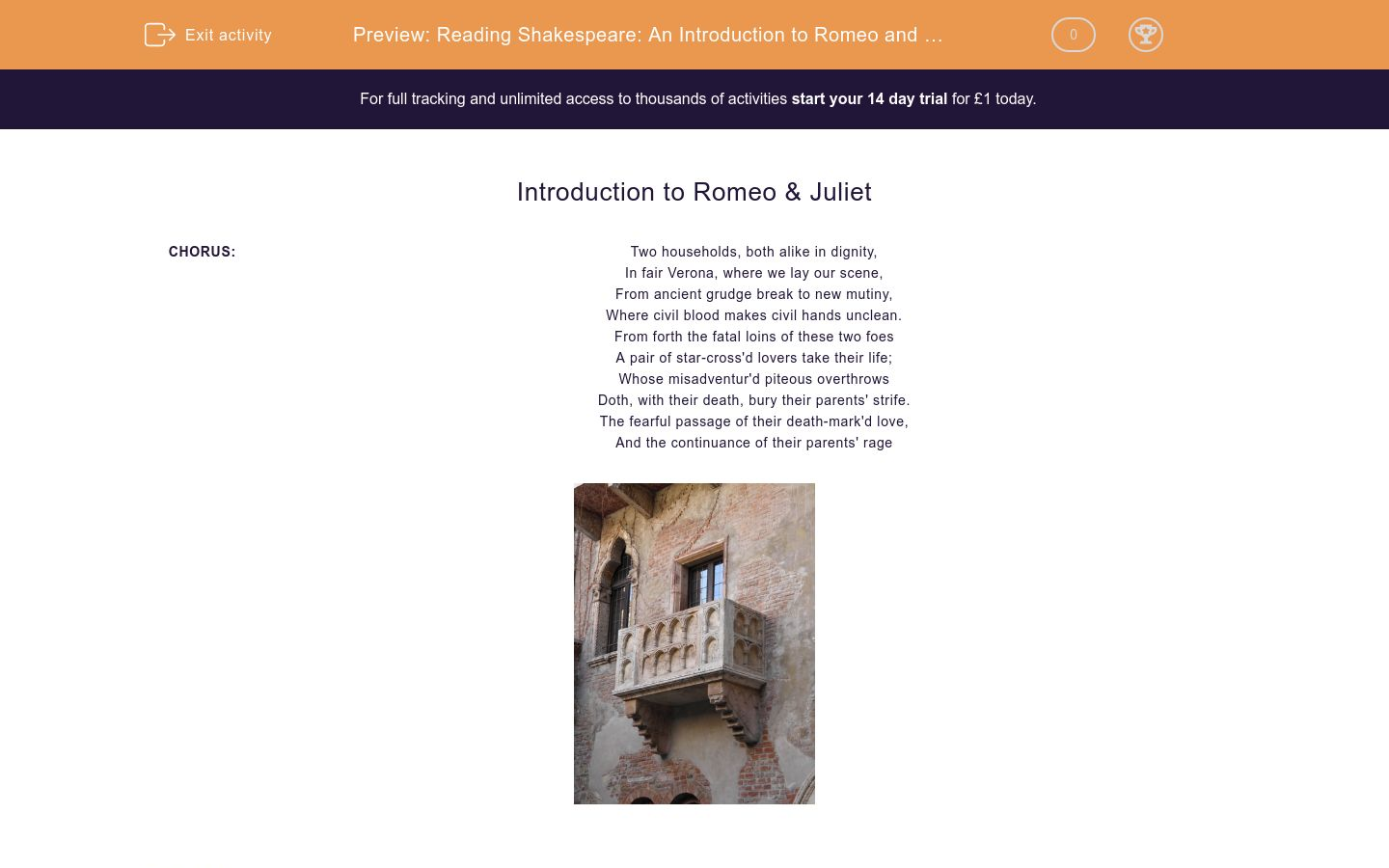 'Reading Shakespeare: An Introduction to Romeo and Juliet' worksheet