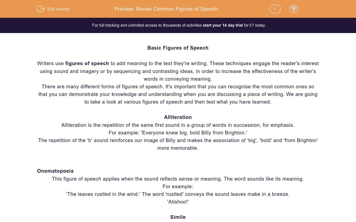 Revise Common Figures of Speech Worksheet - EdPlace