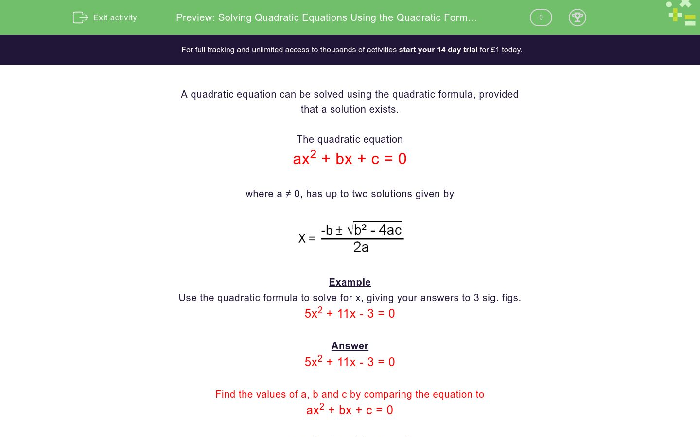 Solving Quadratic Equations Using The Quadratic Formula 2