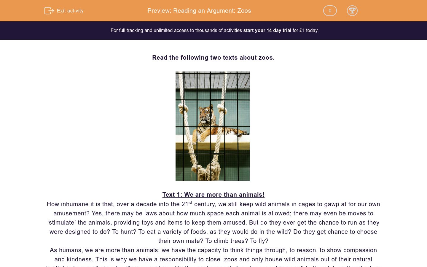 'Reading an Argument: Zoos' worksheet
