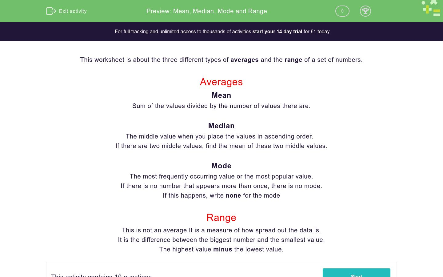 'Mean, Median, Mode and Range' worksheet