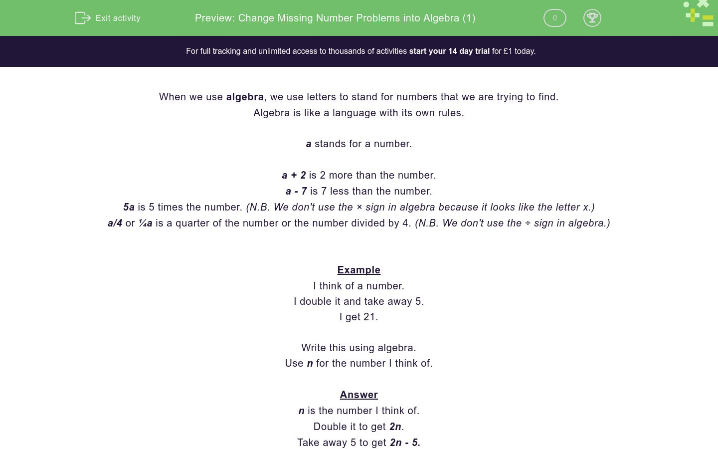 'Change Missing Number Problems into Algebra (1)' worksheet