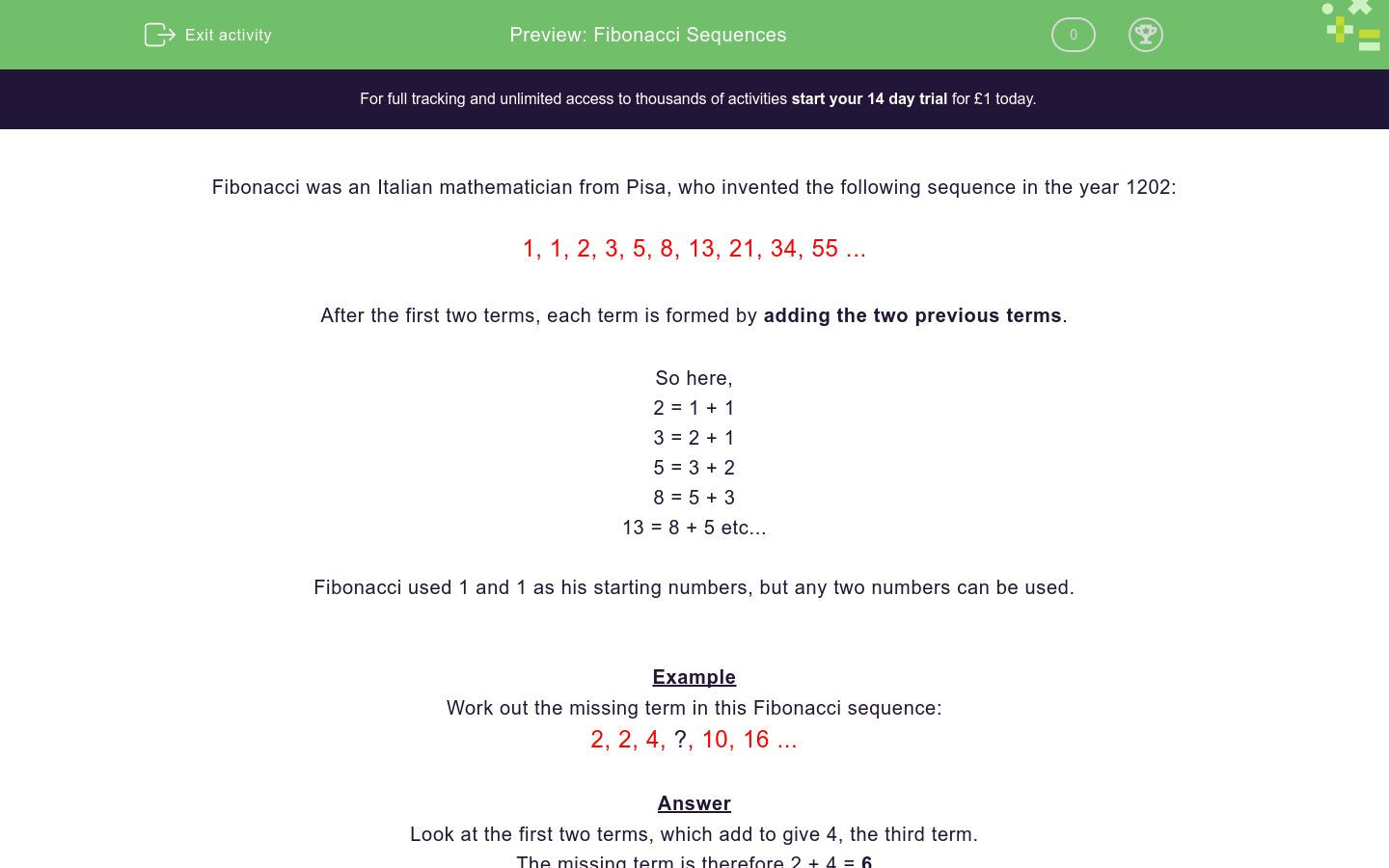 'Fibonacci Sequences' worksheet