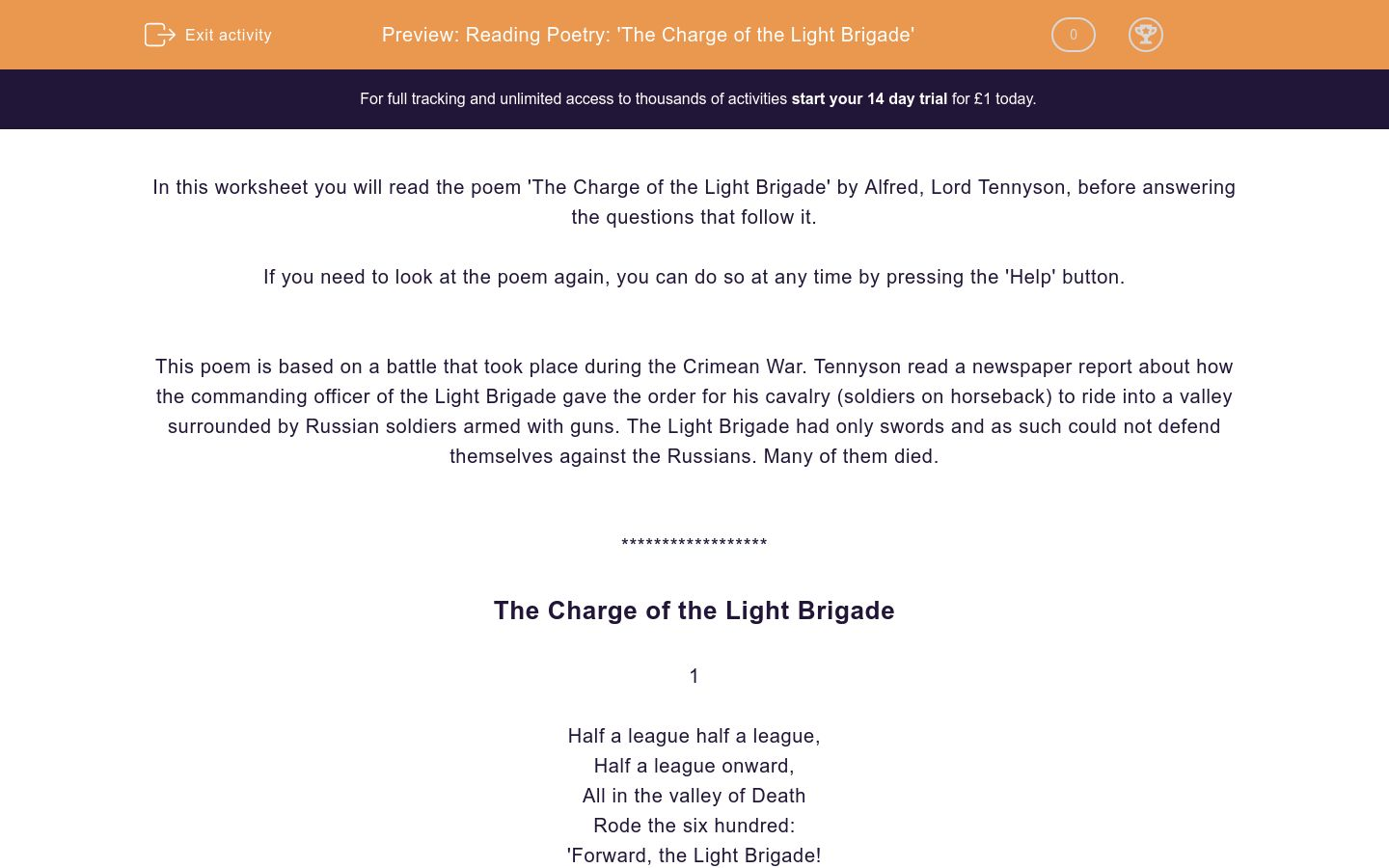 Reading Poetry The Charge Of The Light Brigade Worksheet
