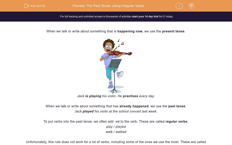 'The Past Tense: Using Irregular Verbs' worksheet