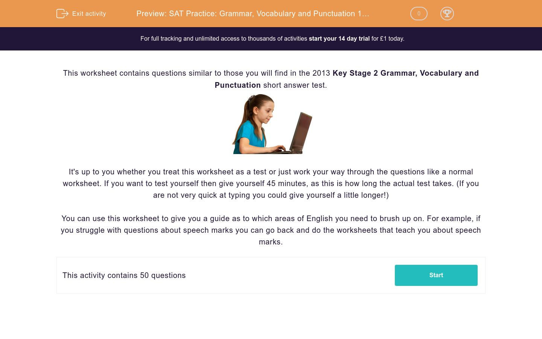 'SAT Practice: Grammar, Vocabulary and Punctuation 1 (2013)' worksheet