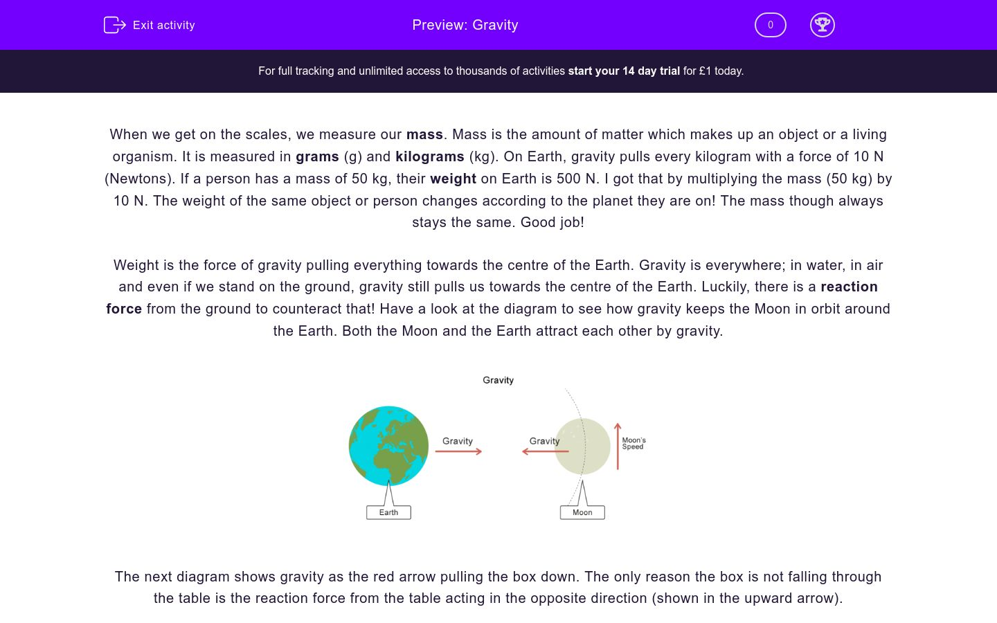 'Gravity' worksheet