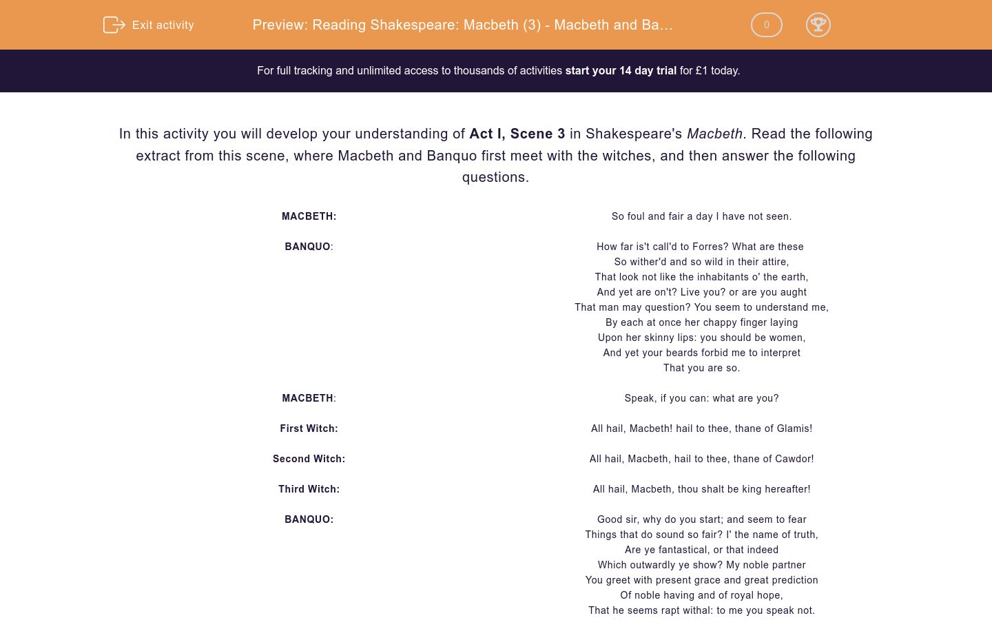 'Reading Shakespeare: Macbeth (3) - Macbeth and Banquo Meet the Witches (Act I, Scene 3)' worksheet