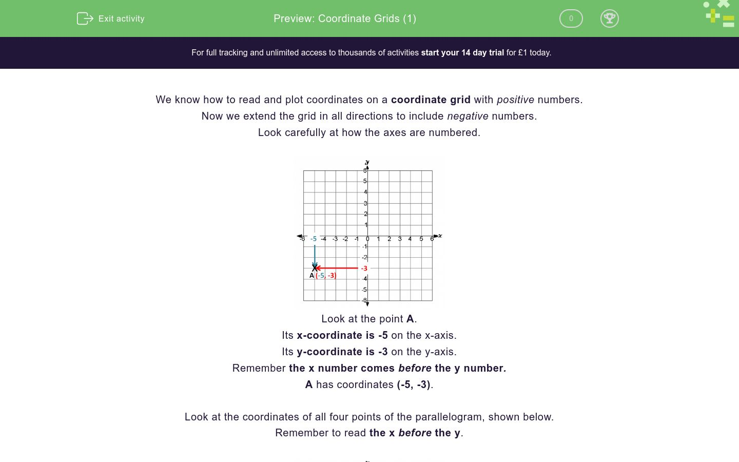 'Coordinate Grids (1)' worksheet
