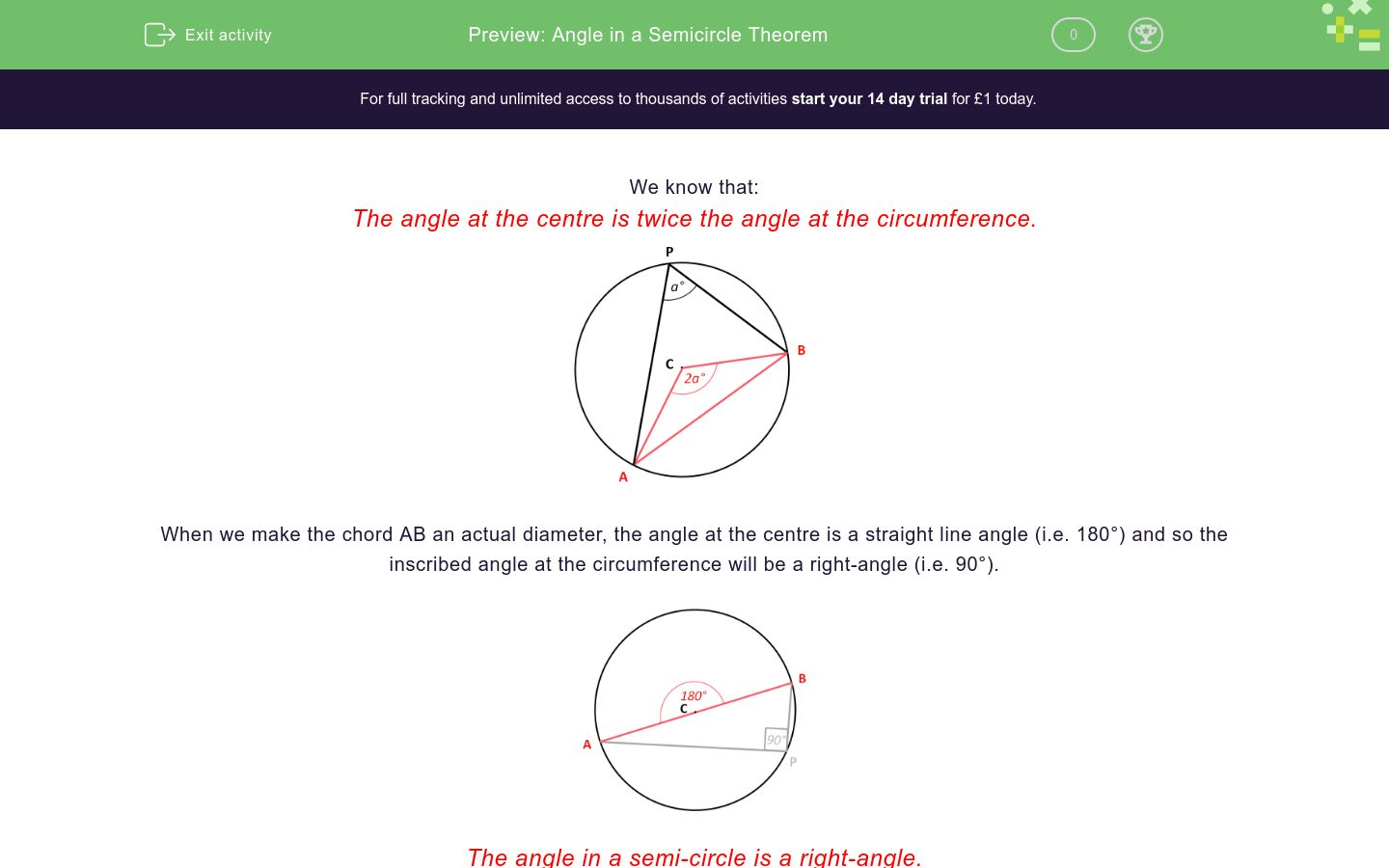 'Angle in a Semicircle Theorem' worksheet