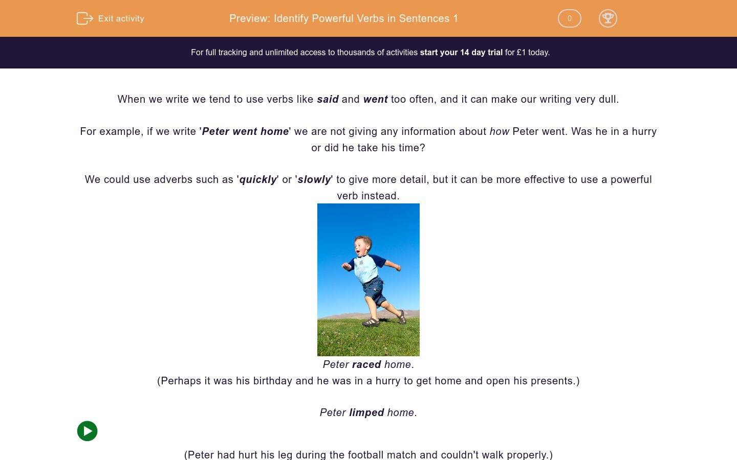 'Identify Powerful Verbs in Sentences 1' worksheet