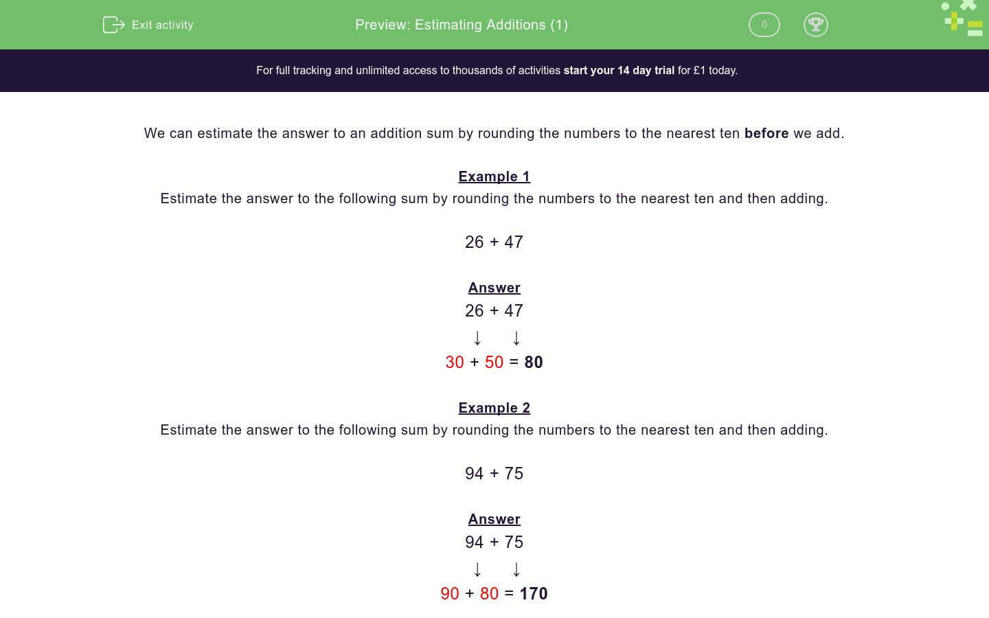 'Estimating Additions (1)' worksheet