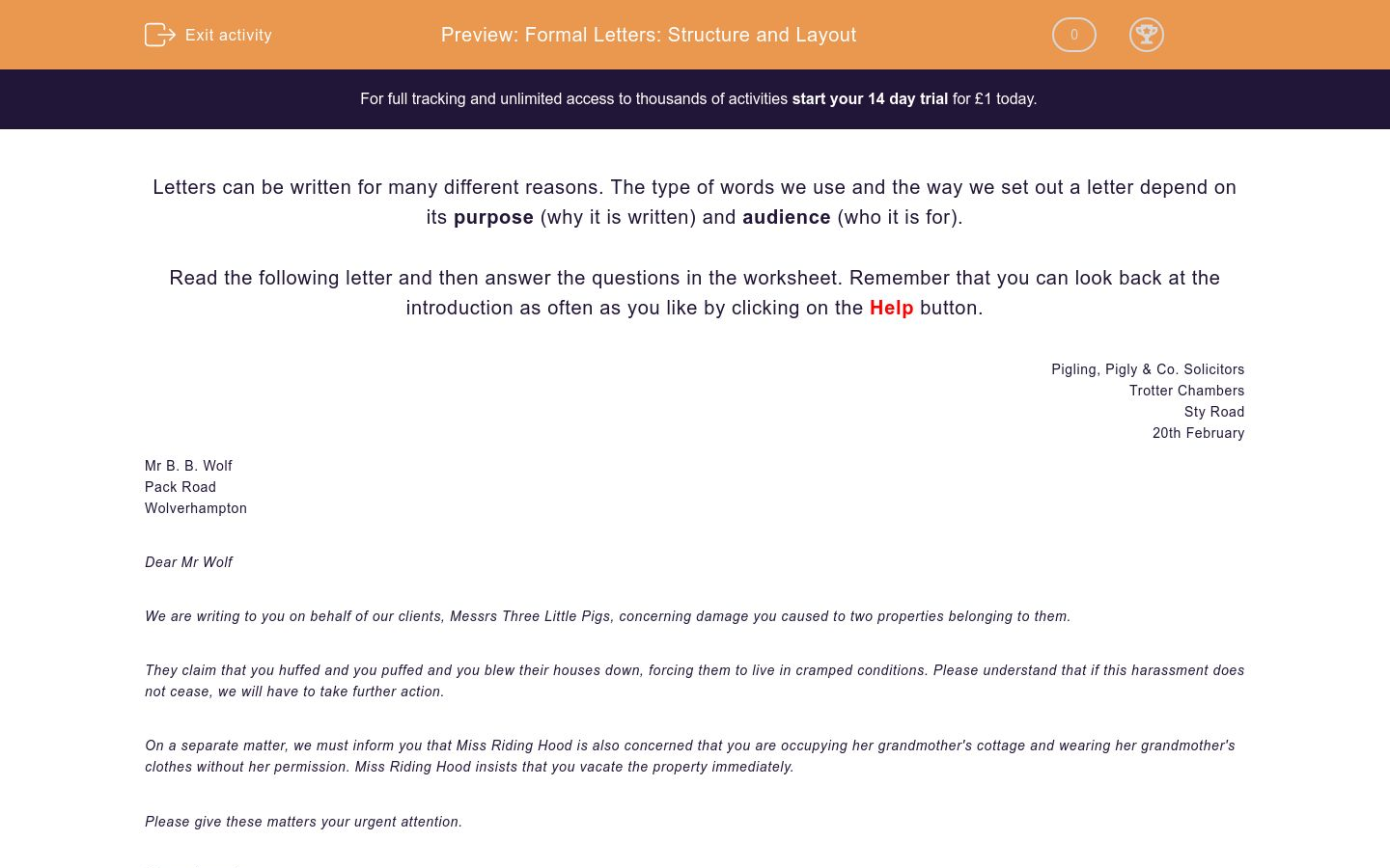Formal Letters: Structure and Layout Worksheet - EdPlace
