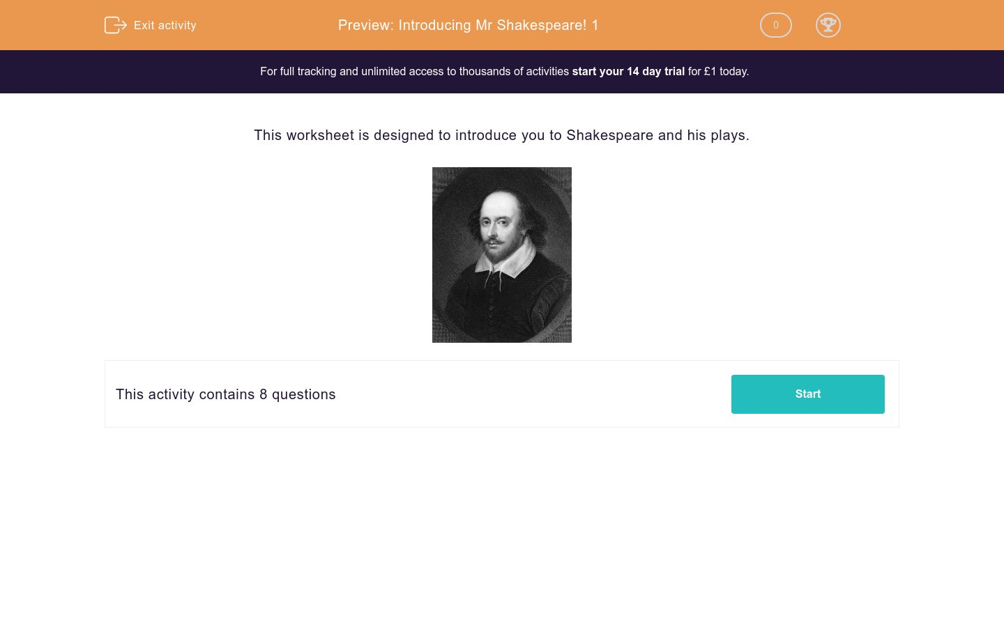 'Introducing Mr Shakespeare! 1' worksheet