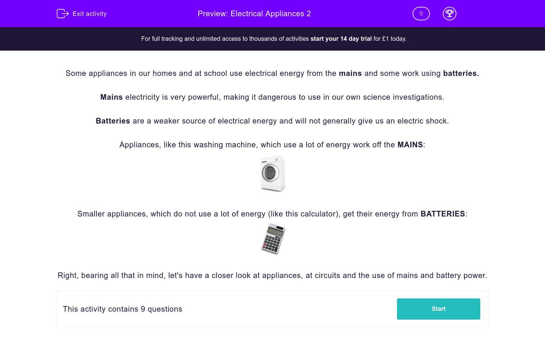 'Electrical Appliances 2' worksheet