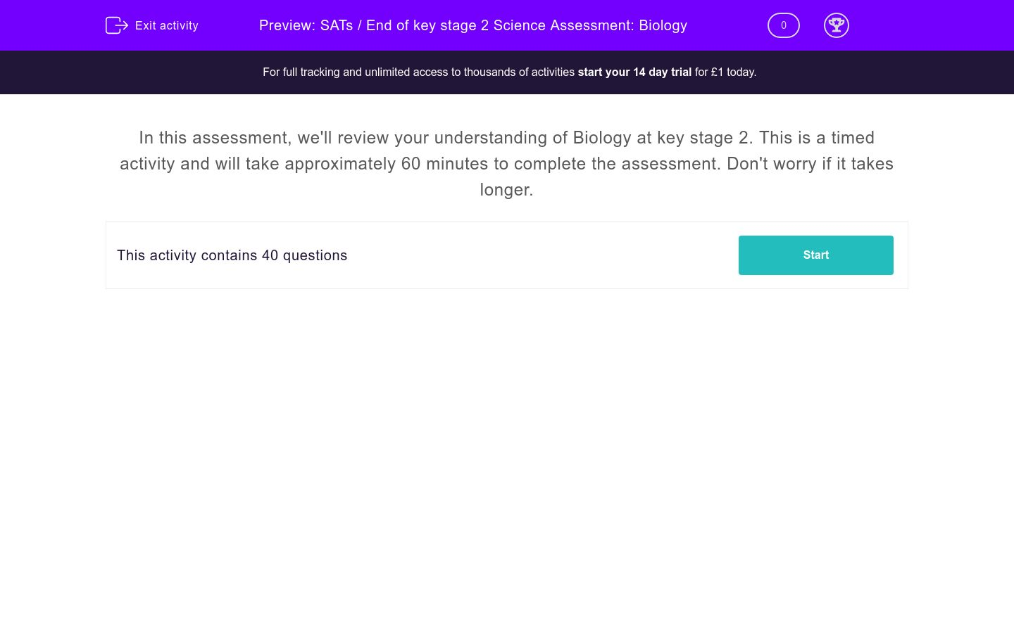 'SATs / End of key stage 2 Science Assessment: Biology' worksheet