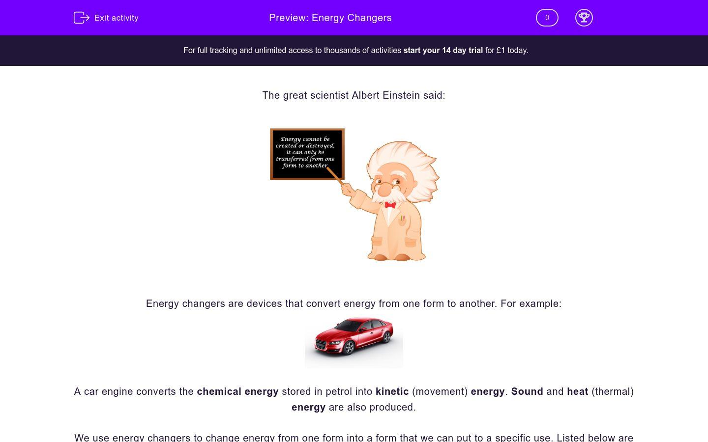 'Energy Changers' worksheet