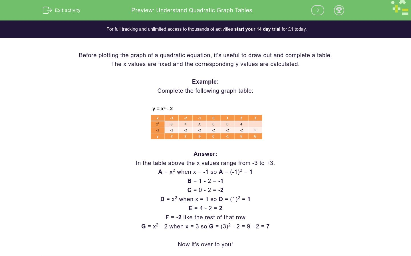 'Complete Quadratic Graph Tables' worksheet