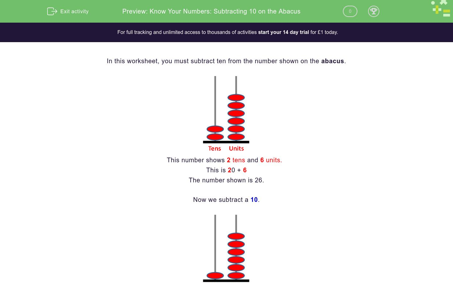 Know Your Numbers: Subtracting 10 on the Abacus Worksheet - EdPlace