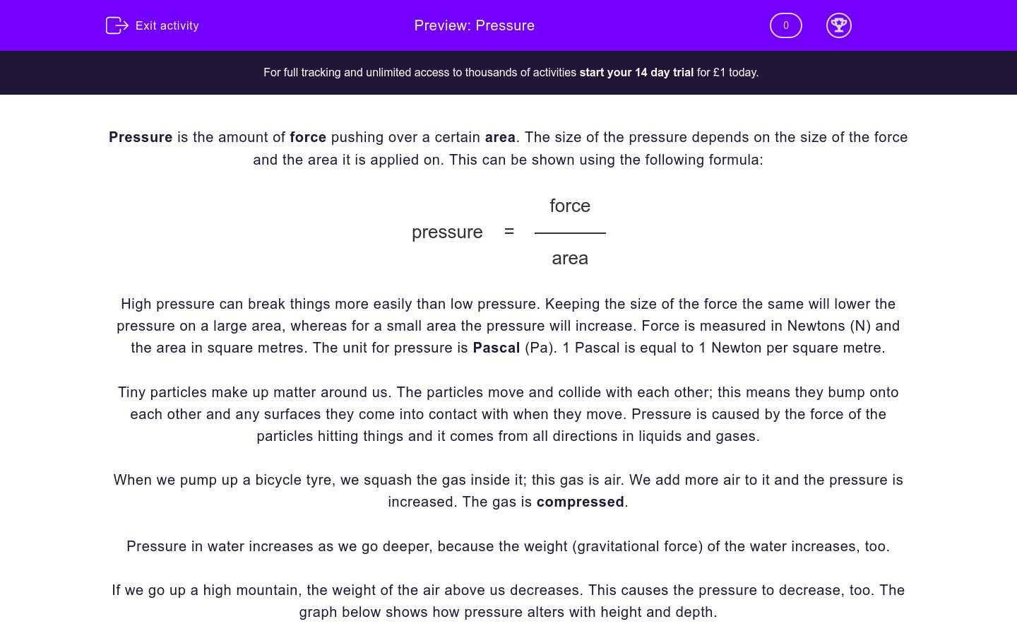 'Pressure' worksheet