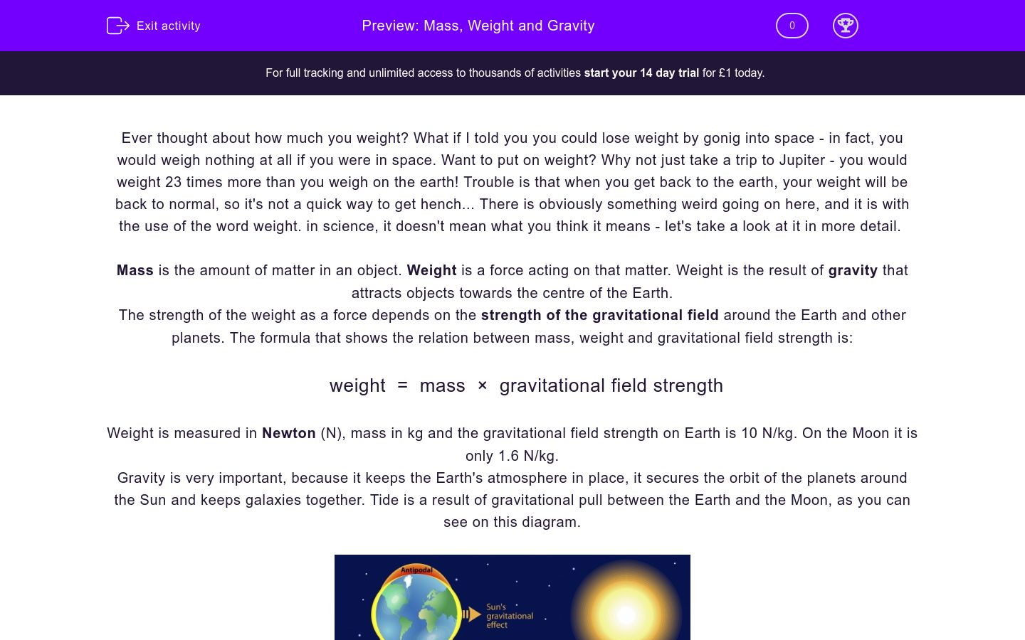 'Mass, Weight and Gravity' worksheet