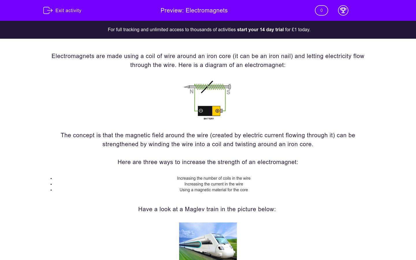 'Electromagnets' worksheet