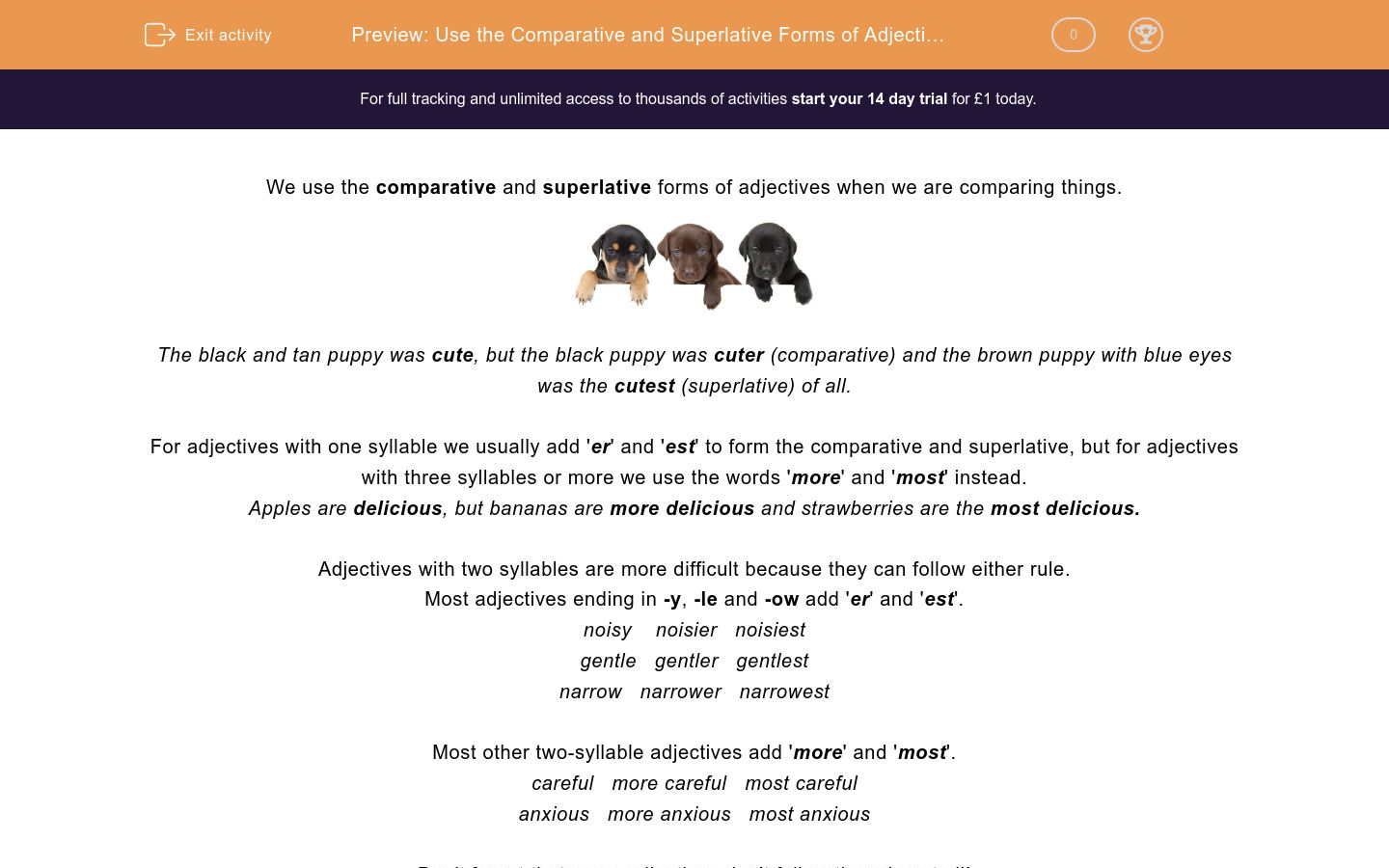 'Use the Comparative and Superlative Forms of Adjectives 3' worksheet