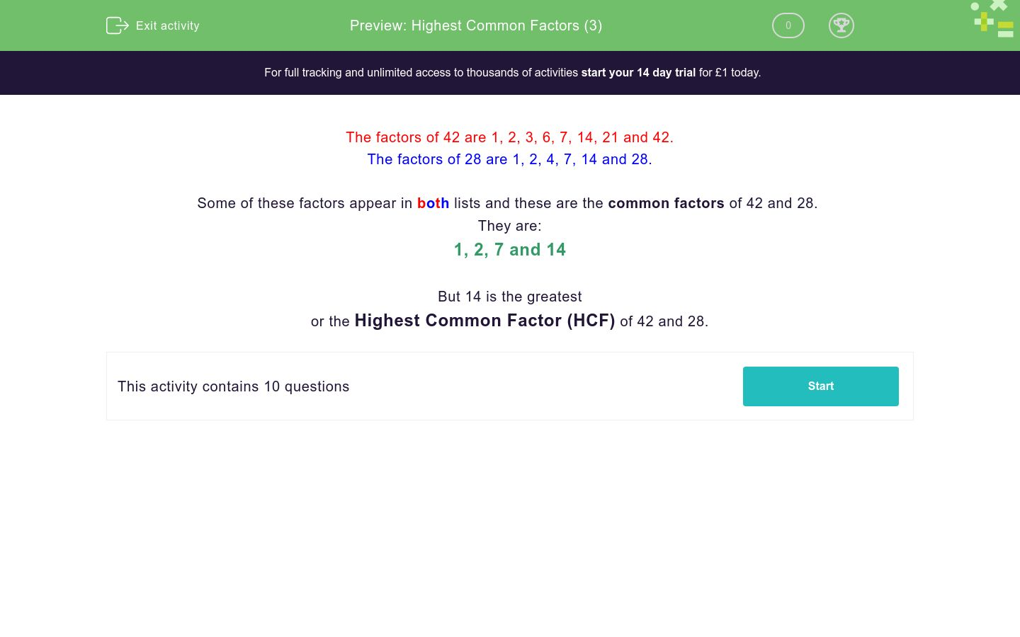 'Highest Common Factors (3)' worksheet