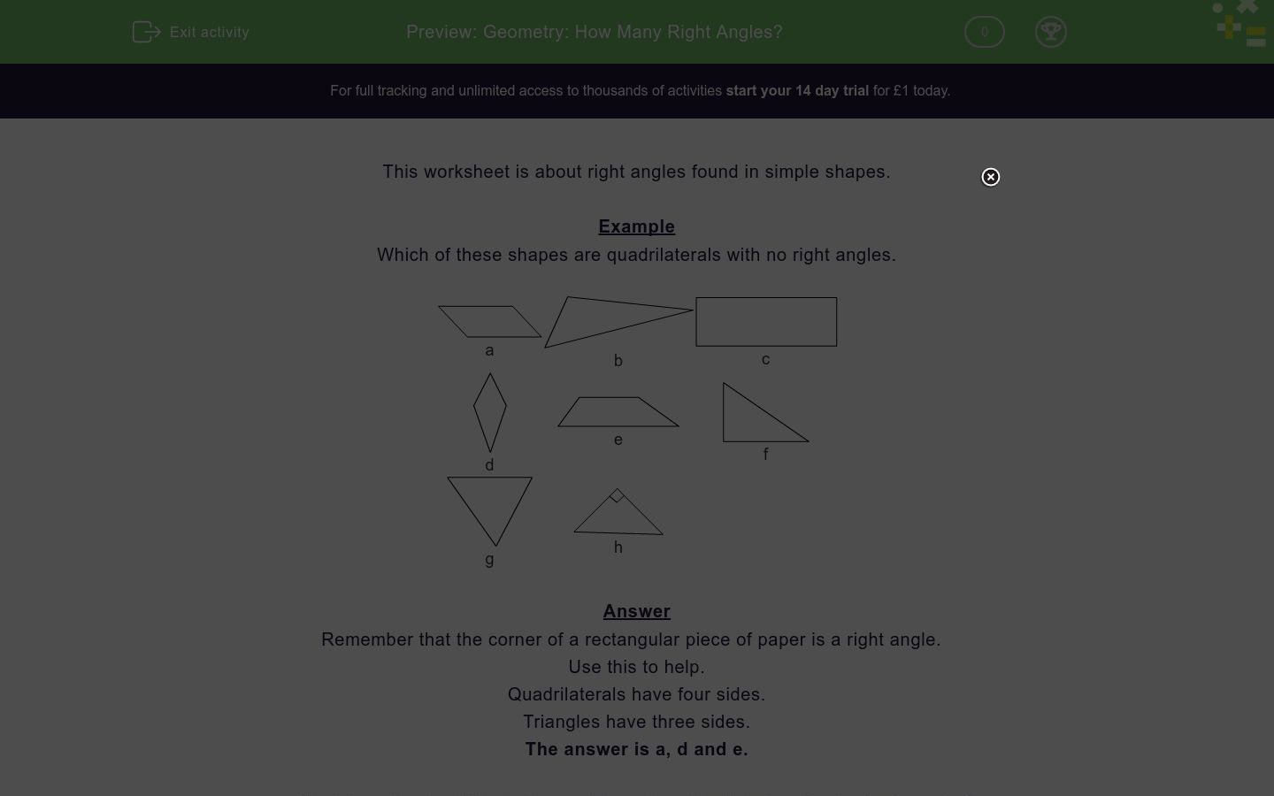 'Geometry: How Many Right Angles?' worksheet